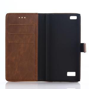 PU kožené peněženkové pouzdro na BlackBerry Leap - coffee - 5