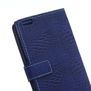 Croco style peňaženkové puzdro pre BlackBerry Leap - tmavomodré - 5
