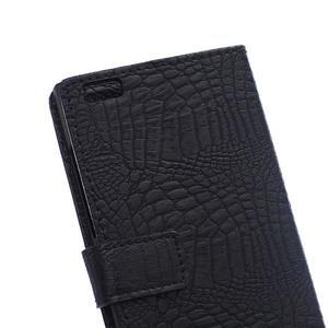 Croco style peňaženkové puzdro pre BlackBerry Leap - čierne - 5