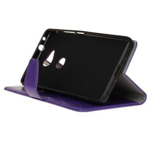 Horse peněženkové koženkové pouzdro na Huawei Honor 5X - fialové - 5