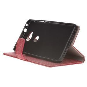 Textilné/koženkové puzdro pre Honor 5X - červené - 5
