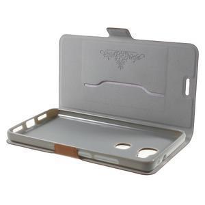 Peňaženkové PU kožené puzdro pre mobil Honor 5X - hnedé - 5