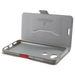 Peněženkové PU kožené pouzdro na mobil Honor 5X - červené - 5