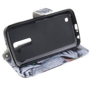 Peňaženkové puzdro pre mobil LG K10 - biely tygr - 5