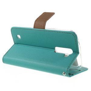 Style PU kožené puzdro pro LG K10 - zelenomodré - 5
