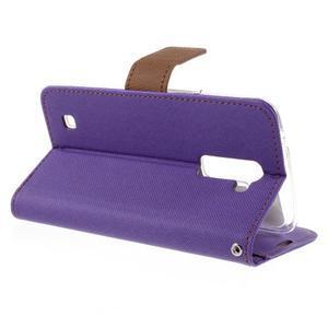 Style PU kožené pouzdro pro LG K10 - fialové - 5