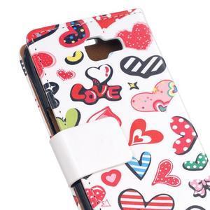 Style peňaženkové puzdro pre LG K4 - koláž srdiečok - 5