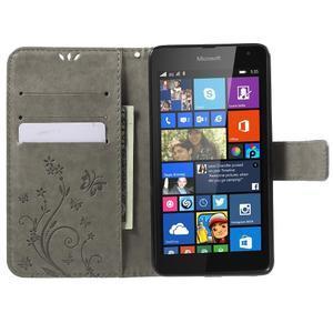 Butterfly peňaženkové puzdro na Microsoft Lumia 535 - šedé - 5