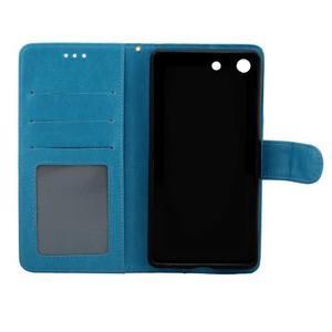 Horse PU kožené pouzdro na Sony Xperia M5 - modré - 5