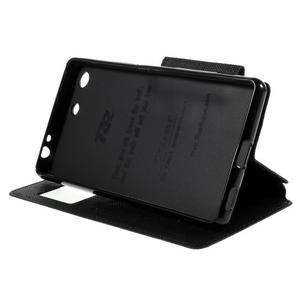 Diary puzdro s okienkom na Sony Xperia M5 - čierne - 5