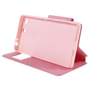 Diary puzdro s okienkom na Sony Xperia M5 - rose - 5