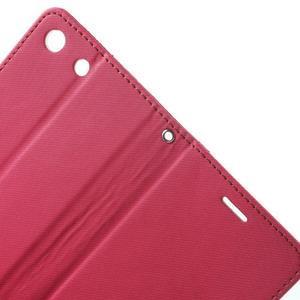 Wall PU kožené puzdro pre mobil Sony Xperia M5 - rose - 5