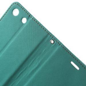 Wall PU kožené puzdro pre mobil Sony Xperia M5 - zelenomodré - 5