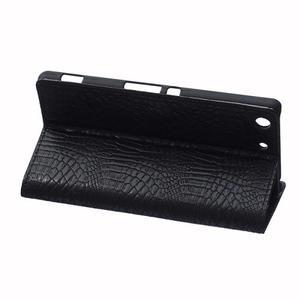 Peňaženkové puzdro s textúrou krokodílej kože na Sony Xperia M5 - čierne - 5