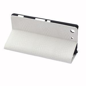 Peněženkové pouzdro s texturou krokodýlí kůže na Sony Xperia M5 - bílé - 5