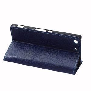 Peňaženkové puzdro s textúrou krokodílej kože na Sony Xperia M5 - tmavomodré - 5