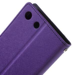 Goos PU kožené peňaženkové puzdro pre Sony Xperia M5 - fialové - 5