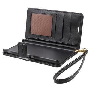 Croco Peňaženkové puzdro pre mobil Sony Xperia M5 - čierne - 5