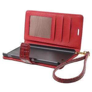 Croco peněženkové pouzdro na mobil Sony Xperia M5 - červené - 5
