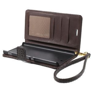 Croco Peňaženkové puzdro pre mobil Sony Xperia M5 - coffee - 5