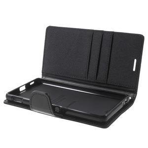 Canvas PU kožené / textilné puzdro pre Sony Xperia M5 - čierne - 5
