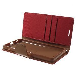 Canvas PU kožené / textilné puzdro pre Sony Xperia M5 - červené - 5