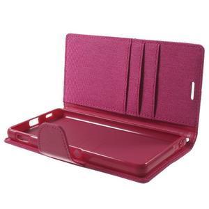 Canvas PU kožené / textilné puzdro pre Sony Xperia M5 - rose - 5