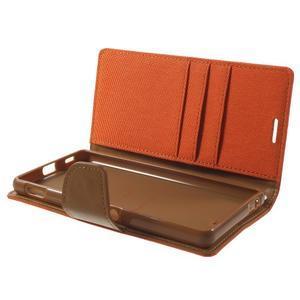 Canvas PU kožené / textilní pouzdro na Sony Xperia M5 - oranžové - 5