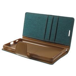 Canvas PU kožené / textilní pouzdro na Sony Xperia M5 - zelenomodré - 5