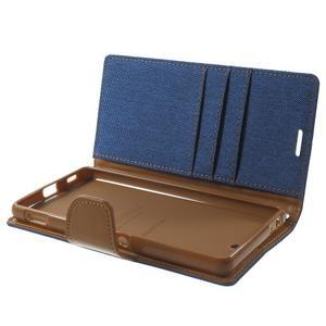 Canvas PU kožené / textilní pouzdro na Sony Xperia M5 - modré - 5