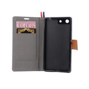 Jeans peňaženkové puzdro pre mobil Sony Xperia M5 - sivé - 5