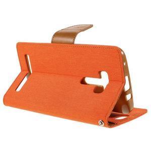 Canvas PU kožené/textilní puzdro na Asus Zenfone Selfie ZD551KL - oranžové - 5