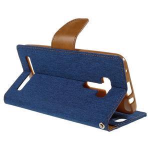 Canvas PU kožené/textilné puzdro pre Asus Zenfone Selfie ZD551KL - modré - 5