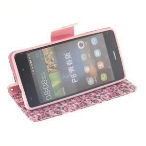 Leathy PU kožené puzdro na Huawei P8 Lite - ruže - 5