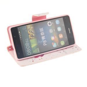 Leathy PU kožené puzdro na Huawei P8 Lite - makový kvet - 5