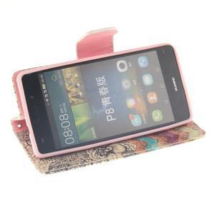 Leathy PU kožené pouzdro na Huawei P8 Lite - retro květiny - 5