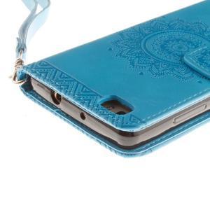 Mandala PU kožené pouzdro na mobil Huawei P8 Lite - modré - 5