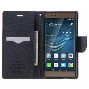 Diary PU kožené pouzdro na mobil Huawei P9 - červené - 5