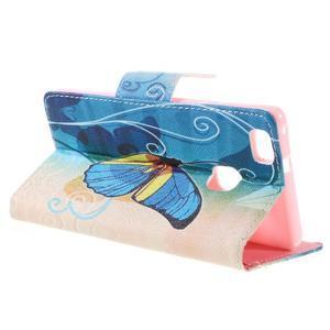 Richi PU kožené pouzdro na Huawei P9 Lite - modrý motýl - 5