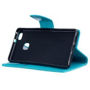 Wall PU kožené puzdro na Huawei P9 Lite - modré - 5