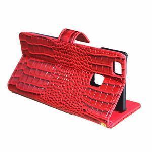 Croco peněženkové pouzdro na mobil Huawei P9 Lite - červené - 5