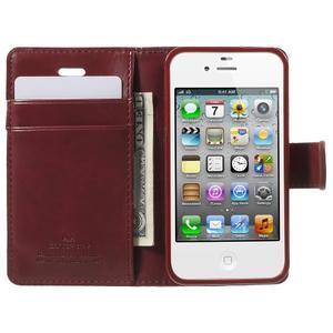 Moon PU kožené puzdro pre mobil iPhone 4 - vínové - 5