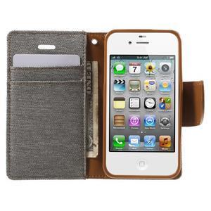 Canvas PU kožené/textilní pouzdro na iPhone 4 - šedé - 5