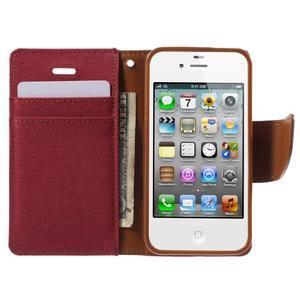 Canvas PU kožené/textilní pouzdro na iPhone 4 - červené - 5