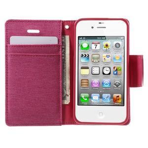 Canvas PU kožené/textilné puzdro pre iPhone 4 - rose - 5