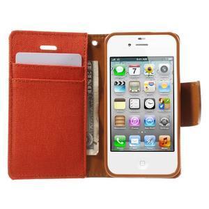 Canvas PU kožené/textilné puzdro pre iPhone 4 - oranžové - 5