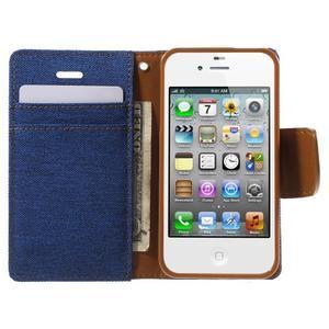 Canvas PU kožené/textilné puzdro pre iPhone 4 - modré - 5
