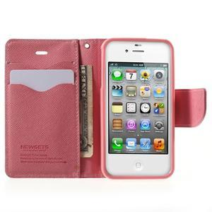 Fancys PU kožené pouzdro na iPhone 4 - rose - 5
