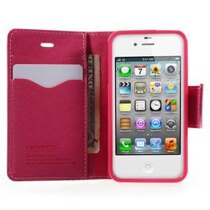 Fancys PU kožené puzdro pre iPhone 4 - ružové - 5