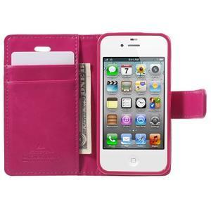 Moon PU kožené puzdro pre mobil iPhone 4 - rose - 5